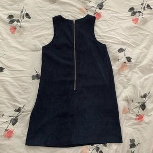 Navy Corduroy Shift Dress with Front Pockets